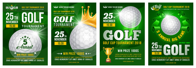 Set of golf posters with golf ball. Golf tournament advertising. Sport event announcement. Place your text and emblems of participants. Vector illustration.