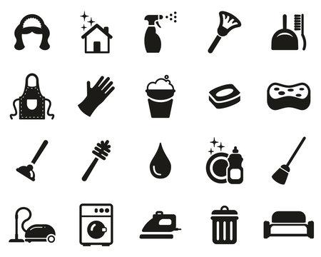 Maid Or Housekeeper Icons Black & White Set Big