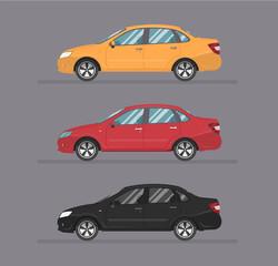 Garden Poster Cartoon cars Popular sedan car, vector auto illustration, Icon Logo Template. Flat cartoon style. Side view, profile.