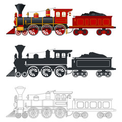 Vintage steam locomotive train with tender wagon in retro style. Three different options: color, silhouette, outline