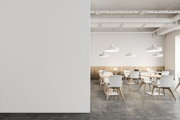 White Industrial style cafe with mock up wall