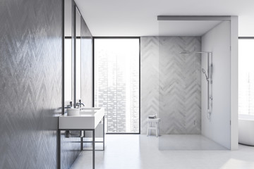 Photo sur Aluminium Montagne White and wood bathroom, sink and shower