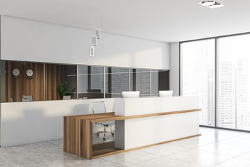 Panoramic white office corner with reception