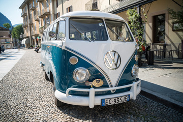Classic car, old Volkswagen Transporter  van during a vintage cars rally. Varallo Sesia, Italy, June 02, 2019.