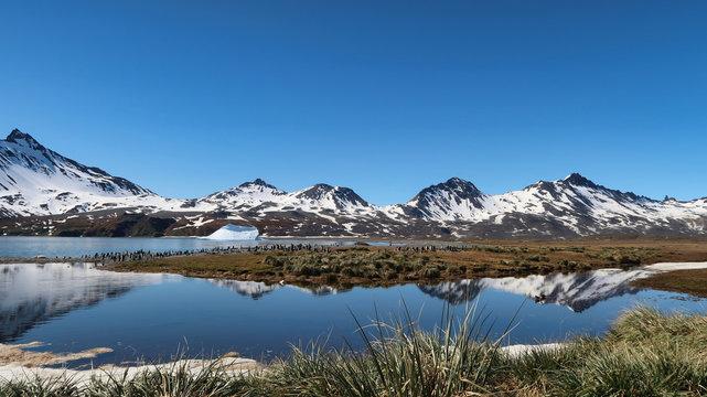 Landschaft in Südgeorgien, Antarktis. Schneebedeckte Berge und Sonnenschein