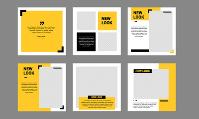Set of Editable minimal square banner template. Black and yellow background color with stripe line shape. Suitable for social media post and web internet ads. Vector illustration with photo college Fototapete
