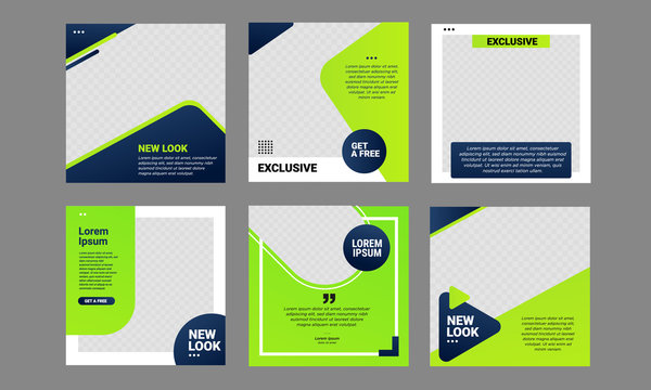 Set of Editable minimal square banner template. green and blue background color with stripe line shape. Suitable for social media post and web internet ads. Vector illustration with photo college