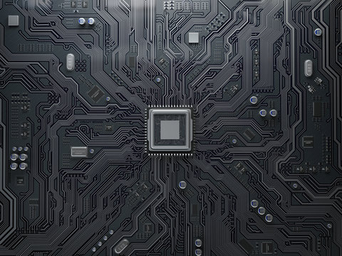 PU chip on circuit board. Black motherboard with central processor chip. Computer hardware tecnology.
