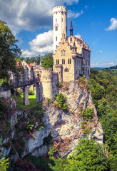 Fototapete - Lichtenstein Castle with high bridge, Germany. It is a tourist attraction of Germany. Scenic view of fairytale Lichtenstein Castle in mountains.