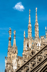 Fototapete - Milan Cathedral roof, Italy. Famous Milan Cathedral or Duomo di Milano is a top landmark of Milan. Luxury Gothic spires with statues on blue sky background.