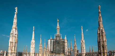 Wall Mural - Milan Cathedral roof, Italy. Famous Milan Cathedral or Duomo di Milano is top landmark of city. Panoramic view of luxury spires and statues, Madonna in center.