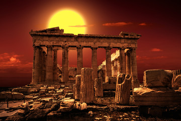 Parthenon on Acropolis of Athens, Greece. It is a top landmark of Athens. Scenic view of famous temple at sunset.