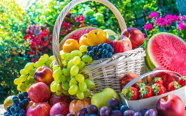 Spoed Foto op Canvas Keuken Variety of fresh ripe fruits in the garden.