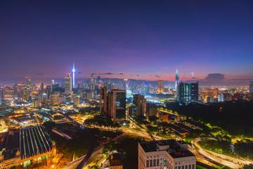 High Angle View Of Illuminated Kuala Lumpur Buildings In City At Night