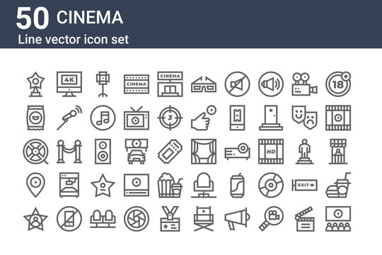 set of 50 cinema icons. outline thin line icons such as movie, hollywood star, cinema, film reel, crisps, k