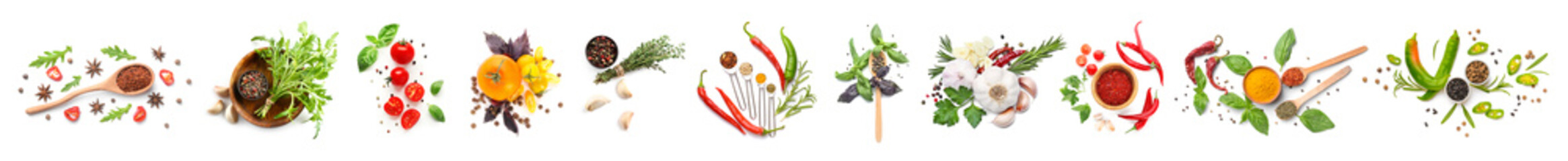Poster de jardin Légumes frais Different fresh spices, herbs and vegetables on white background