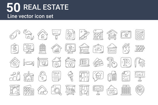 set of 50 real estate icons. outline thin line icons such as home address, fireplace, house value, house value, house value, relocation