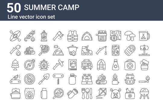set of 50 summer camp icons. outline thin line icons such as barbecue, teapot, swiss army knife, pine, marshmallows, skewer