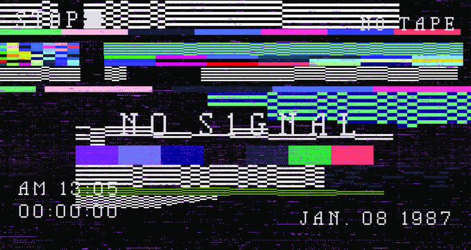 Glitch camera effect. Retro VHS background like in old video tape rewind or no signal TV screen. Vaporwave/ retrowave style vector illustration.