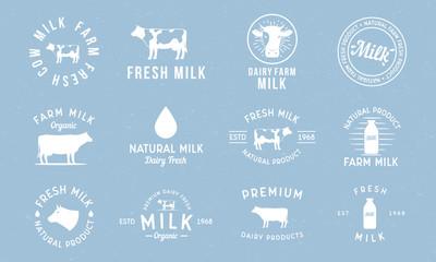 Dairy and milk products labels, emblems and logos. Milk logo set with cow silhouette, milk drop, bottle. Trendy vintage design. Vector illustration Papier Peint