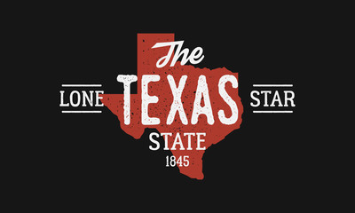 Wall Mural - The Lone Star State. Texas vintage typography. Texas map with stamp effect isolated on black background. Texas print for t-shirt, typography. Vector illustration