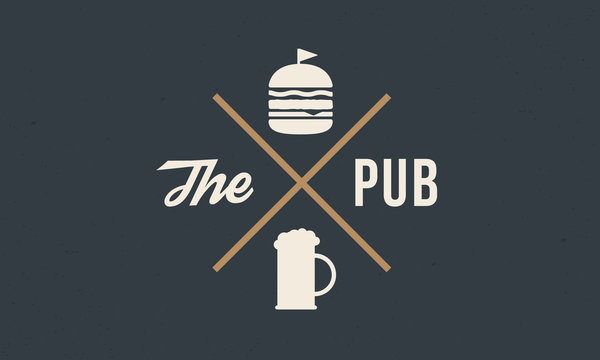 Vintage logo design for Pub, Bar. Label with Beer and burger silhouettes. Vintage hipster label with grunge texture. Vector illustration