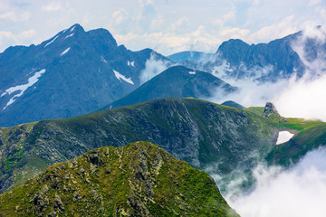 peaks of mountain ridge above the clouds. gorgeous scenery of romanian mountains. fagaras massif in summertime