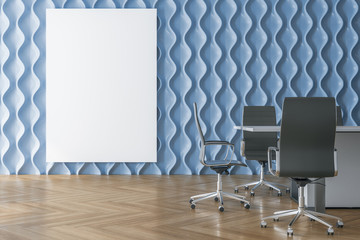 Conference room interior with blank poster