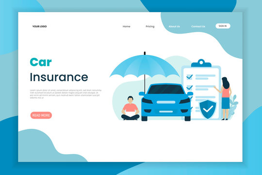 Flat design car insurance landing page template. The car above has an umbrella. Landing page template