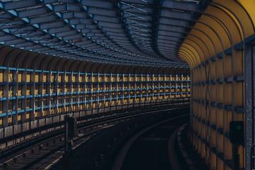 Railroad Tracks In Tunnel