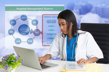 Wall Mural - Female doctor working on hospital management system.