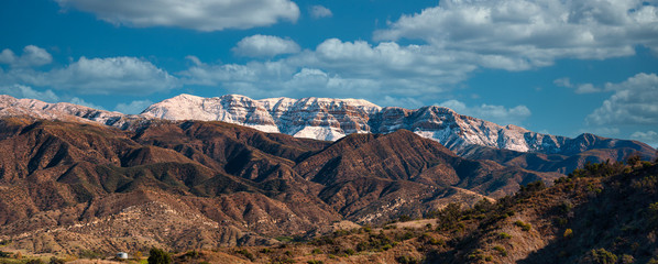 Canvas Prints Cappuccino Snow covered Topa bluffs over Ojai Valley farms and vineyards