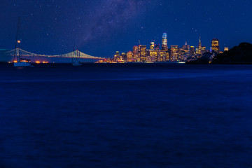 Night time over San Francisco and the Bay Bridge as seen from Angel Island in the bay