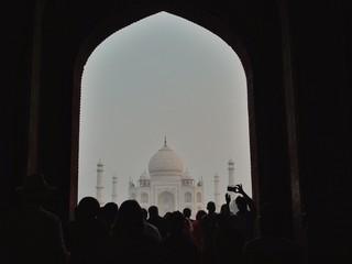 People In Front Of Taj Mahal