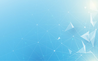 Abstract low polygonal with connecting dots and lines on soft blue background. Science and technology