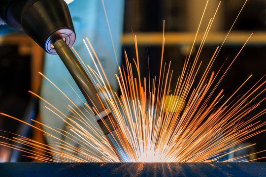 industrial robot welding in factory