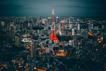 Illuminated Tokyo Tower Amidst Buildings In City Against Sky