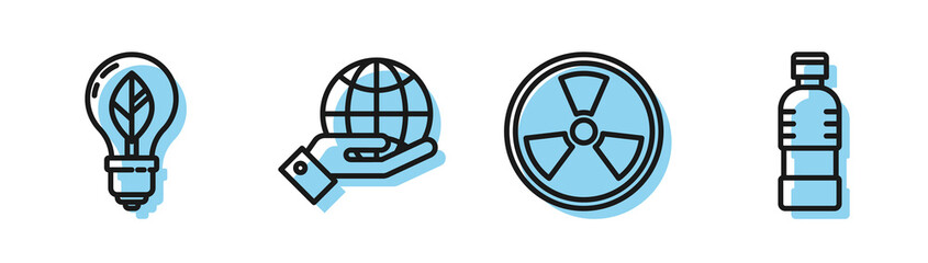 Set line Radioactive, Light bulb with leaf, Human hands holding Earth globe and Bottle of water icon. Vector