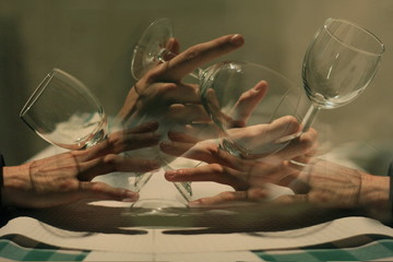 Multiple Exposure Of Woman Holding Wineglass