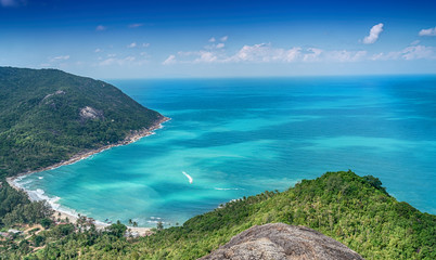 Fototapete - tropical beach from above thailand islands phangan, Beautiful bright tropical landscape, panorama