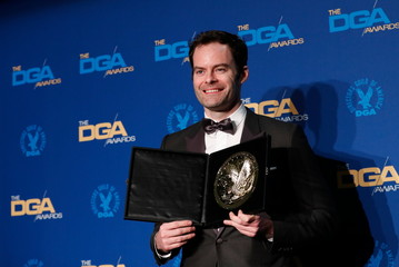 """Bill Hader, director of """"Barry, """"ronny/lily"""", poses with his medallion after winning for Outstanding Directorial Achievement in the Comedy Series category at the 72nd Annual Directors Guild Awards in Los Angeles"""