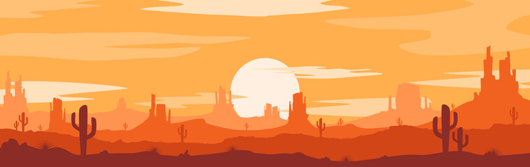 Vector illustration of sunset desert panoramic view with mountains and cactus in flat cartoon style. Fotomurales