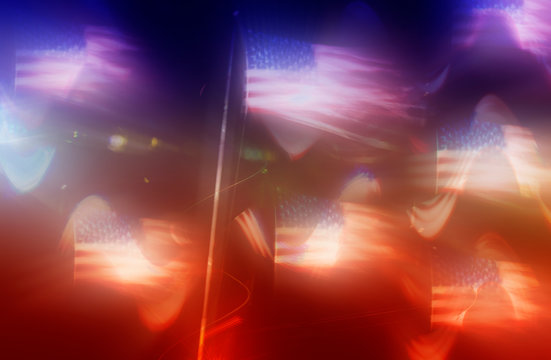 An abstract blurry American flag background image.