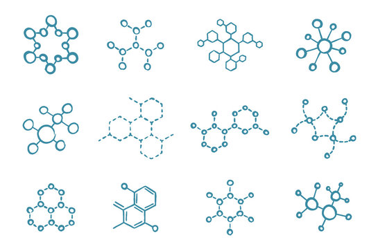 Molecule science icon set. The chemical biotechnology structure. Laboratory test. Blue vector hand-drawn sketch line.