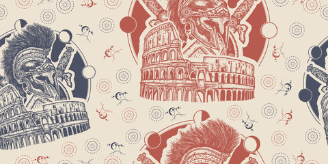 Spartan helmet crossed swords, shield and Colosseum. Seamless pattern. Packing old paper, scrapbooking style. Vintage background. Medieval manuscript, engraving art. Symbol of Ancient Rome