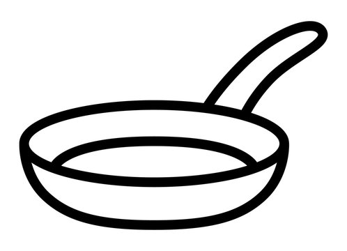 Frying pan skillet or frypan line art vector icon for cooking apps and websites