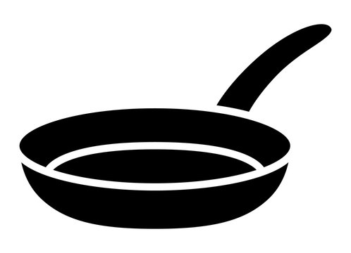 Frying pan skillet or frypan flat vector icon for cooking apps and websites