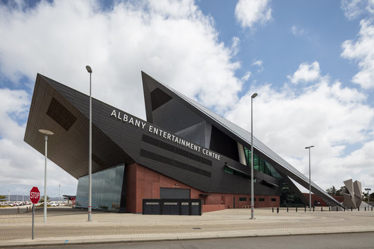 Albany Western Australia November 10th 2019 : View of the modern architecture that comprises the Albany Entertainment Centre in Western Australia