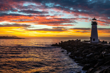 Breakwater Lighthouse at Sunrise Wall mural