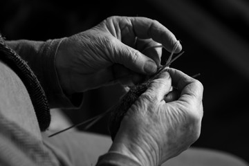 Cropped Image Of Woman Knitting